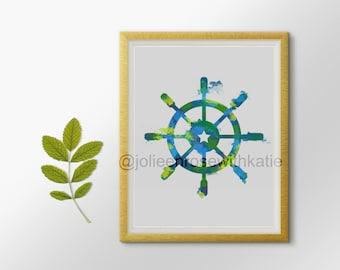 Watercolor ship wheel print, Beach and nautical wall art decor