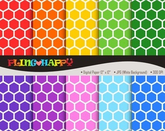 70% OFF Colorful Hexagon BeeHive / Honeycomb Digital Papers Graphics, Personal & Small Commercial Use, Instant Download