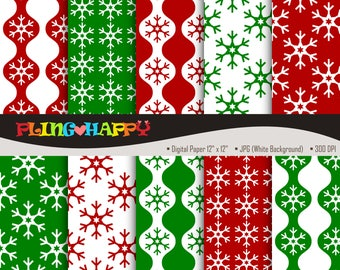 70% OFF Red And Green Snowflake Digital Papers, Red And Green Snowflake Graphics, Personal & Small Commercial Use, Instant Download