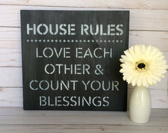 Wooden Sign - House Rules Sign - Family Wood Sign - Home Sign - Rustic Wooden Sign - Rustic Decor - Wood Sign