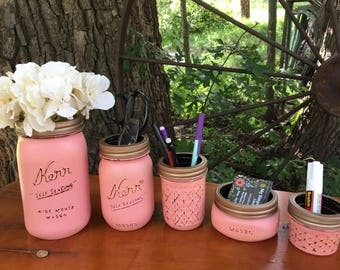 Mason Jar Desk Set-Desk Set-Mason Jar Office-Desk Organizer-Desk Set-Mason Jar Office Set-Office Set-Desk Decor- Desk Set-Kerr Jar