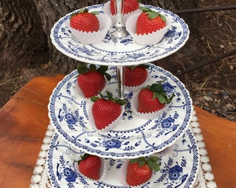 Vintage Johnson Bros Indies 3 Tier Tidbit Serving Tray-Plates England-Indies Made in England-Ironstone-3 Tiered Serving Tray-Johnson Bros