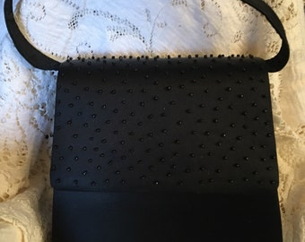 Sasha New York Black Beaded Evening Bag-Sequin Clutch-Clutch Bag-Vintage Beaded Bag-Vintage Beaded Clutch-Sequin Bag-Vintage Purse-Purse