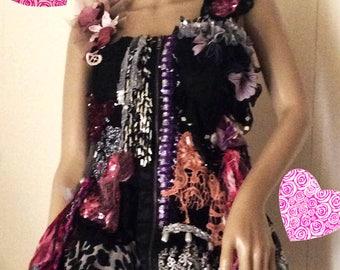 bohemian little dress textil collage sophisticated and uniquepiece hippie, boho  fashion art