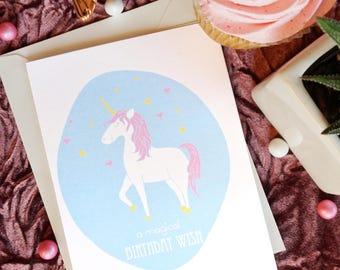 "Unicorn ""A Magical Birthday Wish"" Greeting Card"
