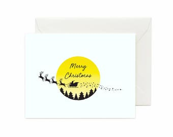 "Santa, Reindeer & Sleigh ""Merry Christmas"" Greeting Card"