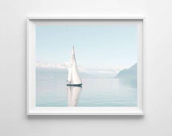 Sailboat, Photography, Printable Art, Seascape Photography, Nature Photography, Ocean Decor, Nautical Print, Water, Ocean, Sea, Boat