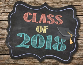 Class of 2018, Kindergarten, Senior Year, School Sign, Last Day of School, Back to School, Chalkboard Sign, Instant Download, Class Sign