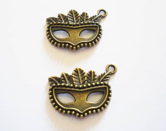 2 charms bronze mask pendant