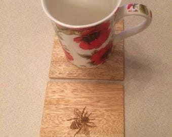 Bumble Bee Coasters, Wildlife Coasters, Wood Coasters, Engraved Coasters.