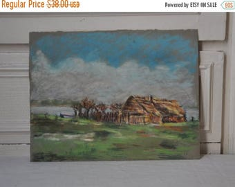 15 % SALE Antique French Painting, Vintage French Pastel Painting, French Art, Sea Lake Painting, Countryside Picture, Wall Hanging, Made in