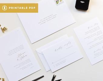 Simple Wedding Invitation Template | PDF Wedding Invitation, DIY Wedding Invitation, Printable Simple Wedding Invitation, Minimalist Invite