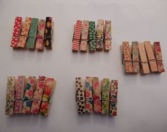 25 Wooden Craft Pegs..Patterned Craft Pegs. Small Pegs.