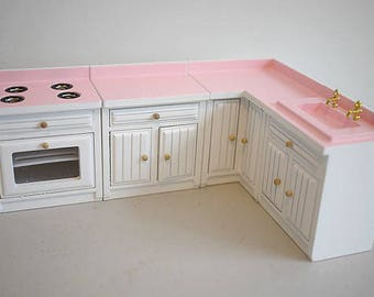 Dollhouse miniature kitchen set, Dollhouse Furniture, 1/12th scale