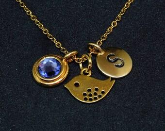 Golden Tiny bird necklace, swarovski birthstone, initial necklace, birthstone necklace