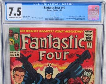 Fantastic Four 46, CGC 7.5, KEY, 1st Black Bolt App, Inhumans Comic Book, WOW , 1966, Jack Kirby art, Silver Age, Vintage Marvel Comics