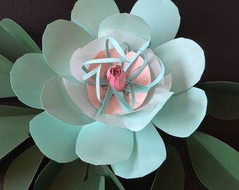 Paper flowers turquoise decor green wall decor girl bedroom pink accent wall flower baby nursery decor girl birthday party props maternity