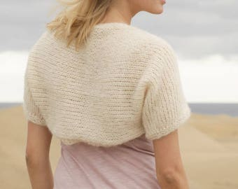 Alpaca  silk knit shrug, soft bolero,  hand knit, made to order