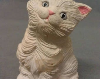 Beige Cat with Pink Ears and Nose and Mouth Colorful Cat Figurine Battery Operated Figurine