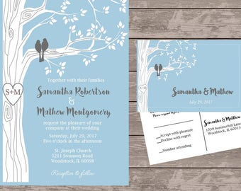 Blue and grey love bird invitation set, personalized wedding invitations, birds in tree wedding invite, custom wedding invitations