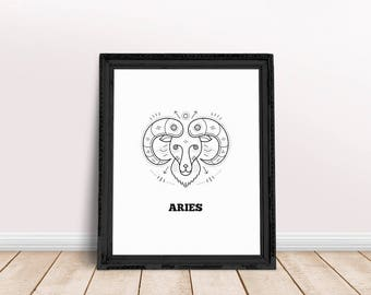 Aries | Aries Printable, Aries Wall Art, Aries Poster, Aries Zodiac Art, Aries Sign Art, Zodiac Sign Wall Art, Horoscope Poster, Aries Woman