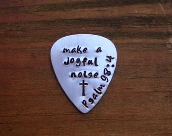 """Guitar Pick, Hand Stamped  """"make a joyful noise"""" Psalm 98:4, Scripture, Bible Verse,Father's Day Gift. Gift for him"""