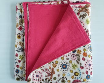 Pink Floral Flannel Baby Blanket, Receiving Blanket, Flannel Blanket, Baby Blanket, Pink Doodle Floral-Ready to Ship