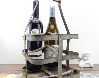 Metal bottle holder - Bottle carrier - Od bottle holder - Shabby chic kitchen - Vintage bottle holder - French country - Farmhouse style -