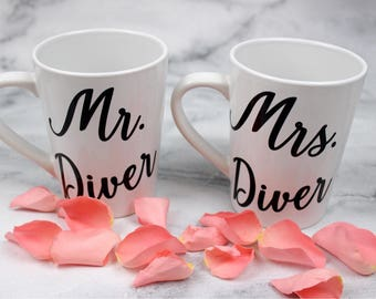 Mr. And Mrs. Engagement Wedding Mugs