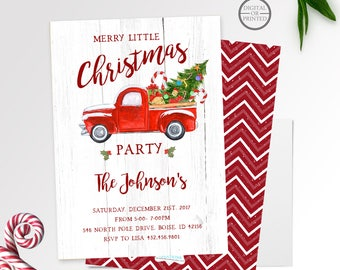 Christmas Party Invitation, Red Truck with Christmas Tree, Red Truck Christmas Invitation, Vintage Red Truck, Red Truck with Christmas Tree