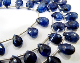 Pack of 20 Beads AAA Best Quality Genuine Blue Sapphire Briolette Loose Beads 10mm long,Natural Blue Sapphire Graduated Pear Shape Beads