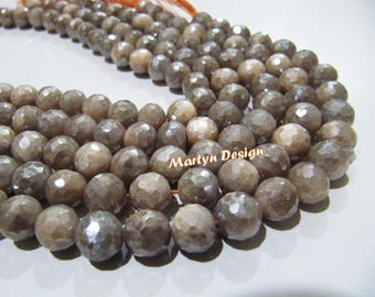 AAA Quality Natural Peach Moonstone Beads , Round Faceted Beads Mystic AB Coated Peach Moonstone Beads Size 10mm , Strand 10 inches long.