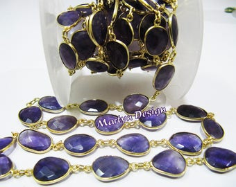 AAA Quality Natural Amethyst Briolette Connector Chain , Uneven Shape Gemstone Connector Chain 12 to 15mm Size ,  Sold Per Foot