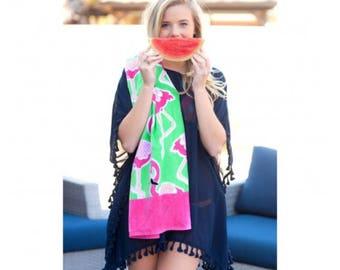 Monogram Beach Towel, Personalized Beach Towel, monogram pool towel anchor monogram, flamingo towel, preppy, nautical, boat towel, bridal pa