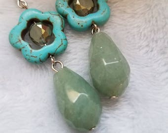 Turquoise and gemstone fashion drop earrings