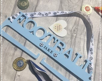 Football Medal Holder / Children's bedroom / hanging display / Medal holders / Football Gifts /  Sports Medal Display / Personalised