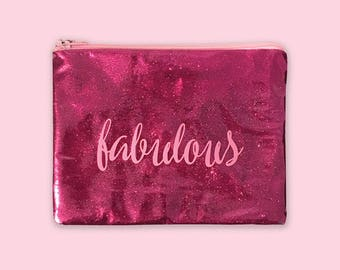 Pink Glitter Bags With Words, Clear Makeup Bags With Sayings, Personalized Pouch With Zipper, Confetti Makeup Bag, Glitter Pouch, Gift Women