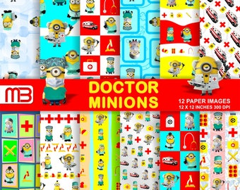 Minion  Doctors digital paper pack - printable papers - Instant download - 12x12 inches papers - for home printing - DIY