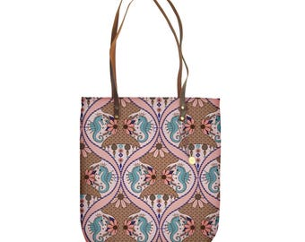Blush and Turquoise Beach Tote Bag With Seahorses, Waterproof