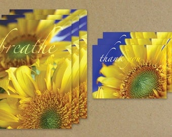 Breathe, Sunflower Greeting Card Combo Set, Sunflower Thank You Card, All Occasion Flower Notecard Set, Benefiting St. Louis Area Foodbank