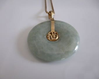 Magnifique pendentif, Jade vert naturel ronde chinois et or jaune 14 K **Expédition gratuite au Canada**Free shipping to Canada*Cadeau idéal