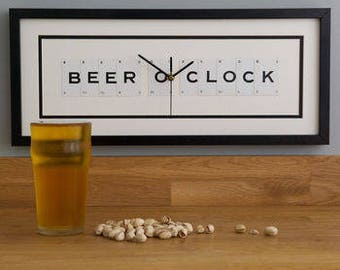 Beer O Clock Frame Clock by VINTAGE PLAYING CARDS