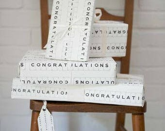 Luxury Congratulations Gift Wrap And Tag by VINTAGE PLAYING CARDS