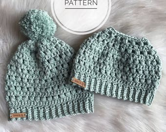 MESSY BUN HAT pattern, Slouchy Beanie Crochet Pattern, Discount Pattern Package, Crochet Pattern, PonyTail Hat, Messy Bun Beanie, Bun Hat