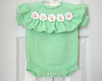 Baby Romper Knitted Baby Girl Clothes Crochet Baby Outfit Crochet Romper Baby Shower Knitted Baby Outfit
