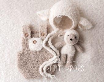 New Born Romper, knitted lamb and Bonnet Set, handmade lamb, Newborn girl, Newborn boy, photography prop, handmade lamb, lamb bonnet