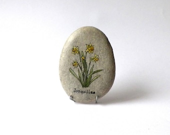 Painting on Pebble, daffodils flowers