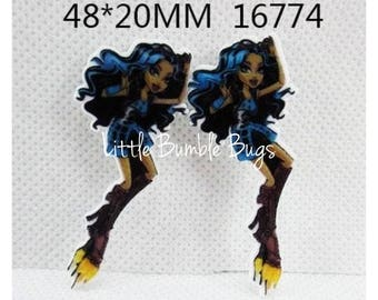 Monster High Inspired Planar Resin-Flat back-Cabochon-Embellishment-Hair bow Centre-Cake Decorating Resin-Party Decor-Clawdeen Wolf Set of 2