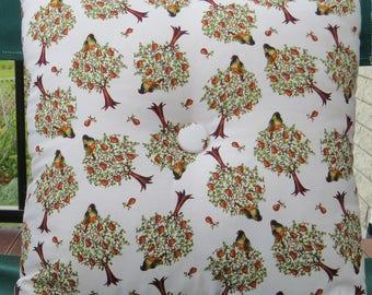 bird cushion, partridge in a pear tree cushion, natural fabric tree cushion