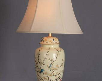 Table Lamp With Shade Porcelain Handpainted Oriental Asian Chinese Lighting Cream with Flowers and Branches